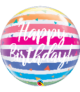 "22"" Happy Birthday Bright Rainbow Stripes Bubble Balloon"