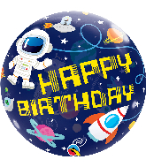 "22"" Happy Birthday Outer Space Bubble Balloon"