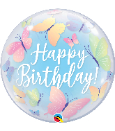 "22"" Happy Birthday Soft Butterflies Bubble Balloon"