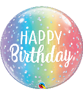 "22"" Happy Birthday Ombre & Dots Bubble Balloon"