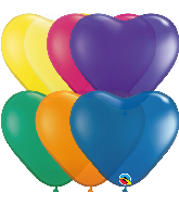 "6"" Heart Jewel Heart Assorted Latex Balloons (100 Per Bag)"