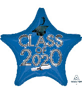 "18"" Graduation Class of 2020 - Blue Foil Balloon"