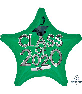 "18"" Graduation Class of 2020 - Green Foil Balloon"