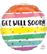 "28"" Get Well Bold Stripes Jumbo Foil Balloon"