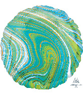 "18"" Marblez™ Blue Green Circle Foil Balloon"