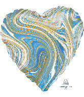 "18"" Marblez™ Blue Heart Foil Balloon"