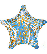 "18"" Marblez™ Blue Star Foil Balloon"