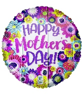 "17"" Happy Mother's Day Fun Flowers Foil Balloon"