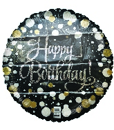 "18"" Happy Birthday Black With Dots Foil Balloon"