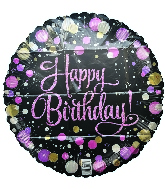"18"" Happy Birthday Pink With Dots Foil Balloon"