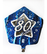 "18"" Blue & Silver 80 Foil Balloon"