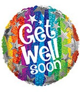 "18"" Foil Balloon Get Well Stars"
