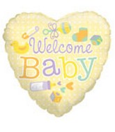 "18"" Foil Balloon Welcome Baby Yellow Heart"