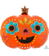 "24"" SuperShape Day of the Dead Pumpkin Foil Balloon"