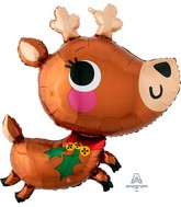"30"" SuperShape Adorable Reindeer Foil Balloon"