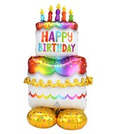 Airfill Only Airloonz Consumer Inflatable Birthday Cake Foil Balloon