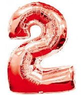"34"" Number 2 Red Foil Balloon"