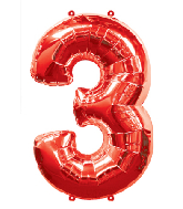 "34"" Number 3 Red Foil Balloon"