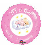 "18"" It's A Girl Roly Bear Foil Balloon"