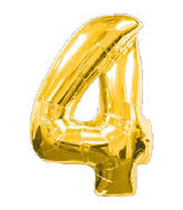 "34"" Jumbo Gold #4 Foil Balloon"