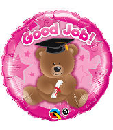 "18"" Good Job Bear Pink Balloon"