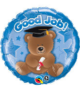 "18"" Good Job Bear Blue Balloon"