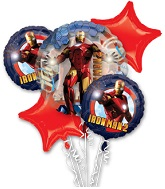 "Iron Man Bouquet (4 18"" Balloons, 1 Jumbo)"