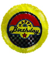 "4"" Airfill Happy Birthday Yellow Checkered Balloon"