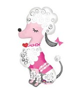 "36"" Large Pink Love French Poodle Mylar Balloon"