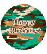 "18"" Happy Birthday Camoflauge"