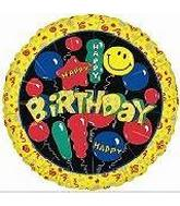 "4"" Airfill Happy Birthday Balloons & Smiles"