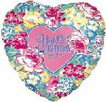 "32"" Happy Birthday Floral Heart"
