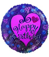 "9"" Airfill Happy Birthday Hearts & Swirls"