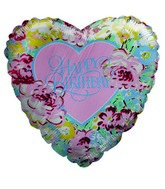 "9"" Airfill Only Floral Heart Happy Birthday Balloon"