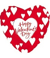 "18"" Happy Valentines Day White Hearts"
