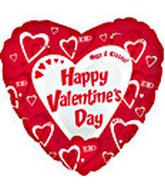 "18"" Happy Valentine&#39s Day XOXO Red Hearts"
