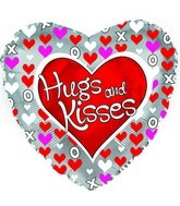 "18"" Hugs and Kisses Hearts Silver"