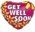 "4"" Airfill Get Well Soon yellow Flowers Balloon"
