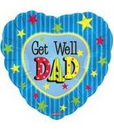 "18"" Get Well Dad Heart with Stars"