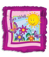 "18"" Get Well Smiley Sun With Flowers Square"