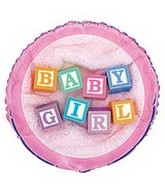 "18"" Baby Girl Blocks Foil Balloon"