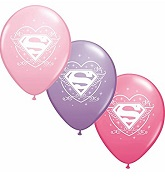 "12"" Supergirl 6 pack Latex Balloons"