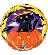 "18"" Cat in Pumpkin Mylar Balloons"