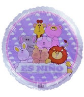 "18"" Es Ni�o Cute Animals Purple White Border Balloon"