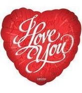 "4"" Airfill I Love You Script Red Balloon"