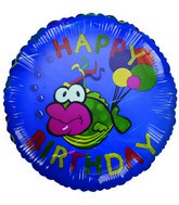 "18"" Happy Birthday Big Lips Fish Blue Balloon"