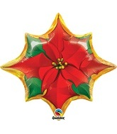"25"" Red Poinsettia Flower Shape Balloon"