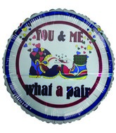 "18"" Me & You What a pair shoes & hearts white balloon"
