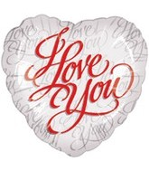 "18"" I Love You Script White"