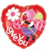 "21"" I Love You Cute Bug Mylar Balloon"